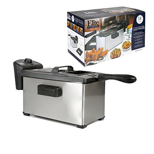 Elite Gourmet EDF-3507 Immersion Deep Fryer, 3.5 Quart, Stainless Steel