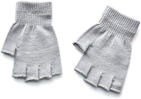 New Unisex Hot Men Women Knitted Stretch Elastic Warm Half Finger Fingerless Gloves for Winter - (Color: Gray)