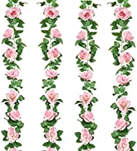 4 Pack 32FT Pink Flower Garland Rose Flower Banners Artificial Aesthetic Flowers for Wedding Arch Party Garden Craft Room Décor(Pink)