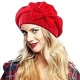 Ruphedy Damen Barett Wintermütze Wolle Beanie Mütze Baskenmütze Hy022 (Rot)