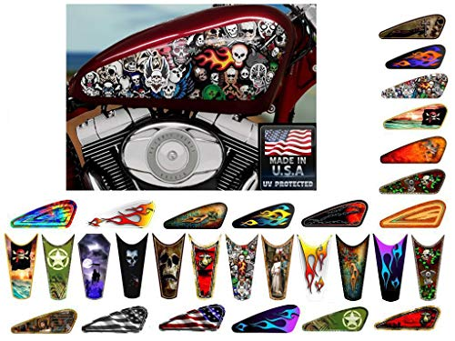 East Coast Vinyl Werkz Motorcycle Gas Tank Decals/Sets - for Harley Davidson Sportster Honda Shadow Suzuki Kawasaki Indian Yamaha (Rat Bike Skulls - 2pc Side Tank Decals)