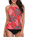 Holipick Women Tankini Swimsuit High Neck Halter Tummy Control Two Piece Bathing Suit Red L