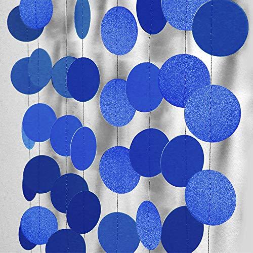 Cheerland Glossy Royal Blue Circle Paper Garland Hanging Polka Dot Streamer Party Decoration Bunting Banner Backdrop Decor for Boys Birthday/Wedding/Baby Shower/Engagement/Graduation/Grad