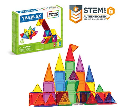 Magformers Tileblox 60 Piece Set Magnetic Building Blocks, Educational Magnetic Tiles Kit , Magnetic Construction STEM Toy Set