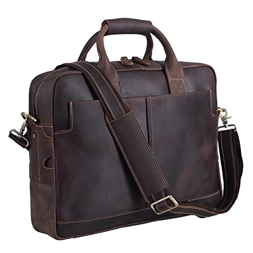 Polare Thick Authentic Full Grain Leather 16'' Laptop Attach Case Bag Briefcase