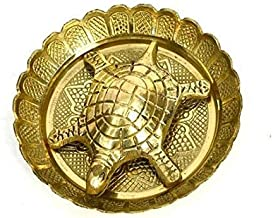 VRINDAVANBAZAAR.COM Pure Brass Vastu Fengshui Tortoise/Turtle with Plate for Goodluck- Small