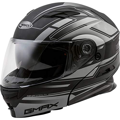 GMAX MD-01 Adult Stealth Modular Motorcycle Helmet - Matte Black/Silver / 2X-Large