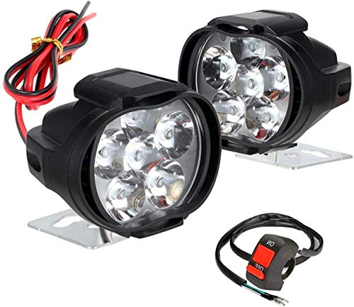 Allextreme EXL3FWS Imported 6 LED Fog Light Waterproof Pod Driving Spot Head Lamp with Handlebar Switch for Bikes Cars and Motorcycle (10W, White Light, 2 PCS)
