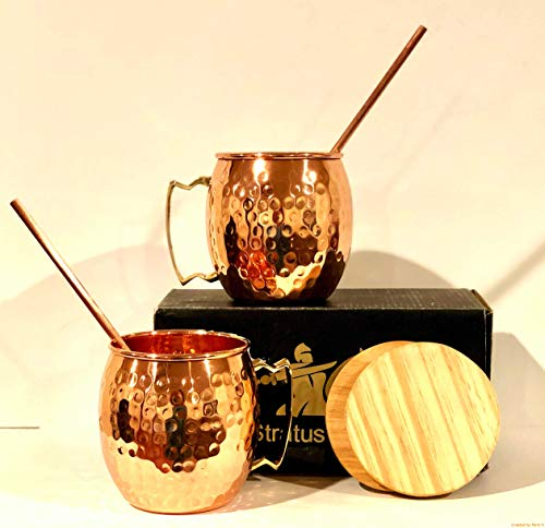 stratuscrafts Copper Mugs - Gift Set of 2, 100% Solid Handcrafted Copper Cups - 16 Ounce Food Safe Hammered Mug For Mules