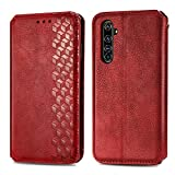 Trugox Handyhülle für Realme X50 Pro 5G Hülle Leder Klapphülle mit Kartenfach Ständer Flip Hülle für Oppo Realme X50 Pro 5G - TRSDA120688 Rot