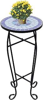 Tidyard Mesa Auxiliar de Mosaico Mesilla de Teléfono Aparador Tabla Alta Mesa para Plantas Mesa Lateral para Jardin Balcon...