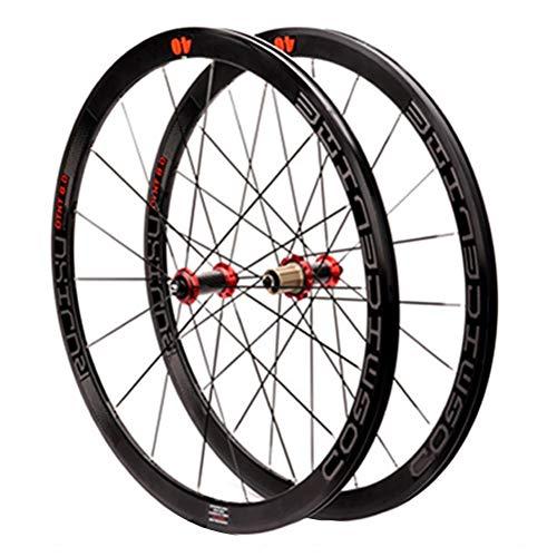 Rennrad Laufrad 700C Radsatz Doppelwandige Leichtmetallfelge 40mm Fahrrad-Rad 8-11-Gang-Carbon-Nabe Palin Schnellverschluss (Color : Green)
