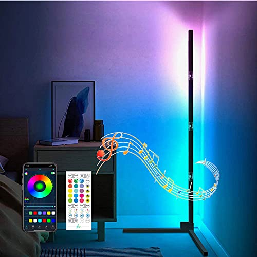 Lampara de pie LED,Moderno Lámpara pie LED Luz de Piso con Bluetooth RGB de Color Variable con Control Remoto Sincronización con Música Lámpara de Piso para Sala de Estar,Fiesta-Rgb 150cm(59inch)