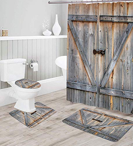 Coxila Rustic Shower Curtain Sets Bath Mat 4 Pcs Decor Bathroom Barn Door Wooden Wood Contour Mat Toilet Lid Cover U Shaped Non-Slip Rug Fabric Polyester 60x72 Inch