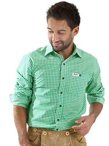ALMBOCK Trachtenhemd Herren kariert - Slim-fit Männer Hemd hellgrün mint-grün kariert - Karo Hemd aus 100% Baumwolle in den Größen S-XXXL