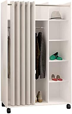 BS Cube Armoire Closet Wardrobe with Wheels Hanging Rod White Grommet Curtain Divided Shelving Cubbies Closet Cabinet Dresser Storage Organizer Clothes Shoes Linens Toys Sturdy & eBook by BADA Shop