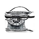 Bolso cosmético portátil del Viaje de Las señoras,Bolso del Maquillaje,Ciervos disfrazados Dibujados a Mano en Estilo Hipster,Bolsa de Aseo multifunción Que recibe