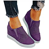 soyienma Ankle Winter Boots for Women,Women's Zipper Bootie Chunky Stacked Heel Ankle Boots Buckle Strap Ankle Purple