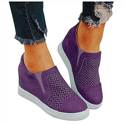 Dasongff Damen Freizeit Schuhe Laufschuhe mit Keilabsatz Atmungsaktiv Turnschuhe Leichtgewichts Große Freizeitschuhe Straßenlaufschuhe Rutschfeste Sneaker für Outdoor Fitness Gym Walkingschuhe