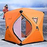 BOLIXIN Tienda de campaña Adecuado para la pesca para 3-4 personas en invierno uso hielo pescado camping tienda de campaña algodón al aire libre pesca casa,naranja,C