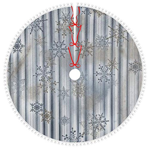 ACVACV Personalized Christmas Tree Skirt Merry Christmas Snowflake Gray Stripes Cute Pom Xmas Tree Skirt Large 48' Holiday Christmas Decorations, Double Layers Pencil Tree Skirt Outdoor Indoor