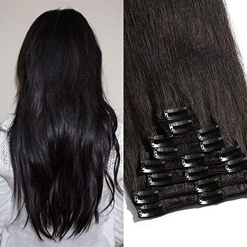 TESS Echthaar Clip in Extensions Haarverlängerung Standard Weft Grad 7A Lang Glatt günstig Remy Human Hair Extensions 8 Pcs 18 Clips 50cm-105g(#1B Naturschwarz)