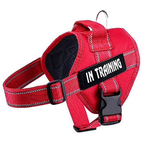 WOCUME Adjustable Dog Harness 3M Refletive Pet Vest Harness Soft Padded Harness Front Clip Vest Harness with Handle for Medium Large Dogs Training or Walking(M, Red)