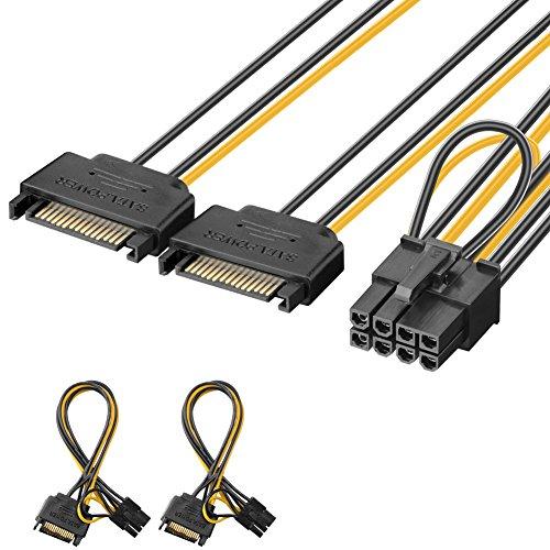 J&D 2er Pack 2X SATA Power 15 Pin auf 8...