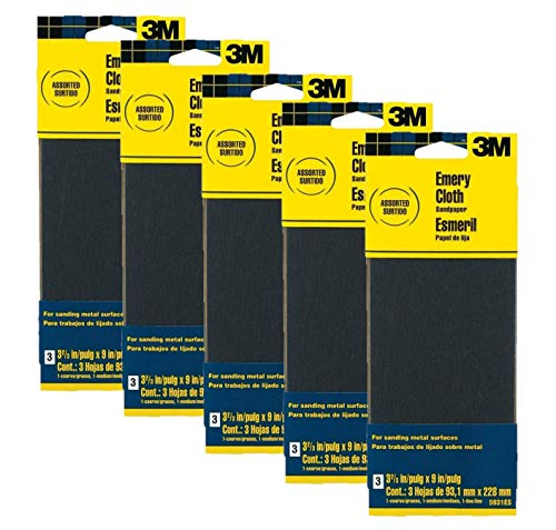 3M Assorted Grit Emery Cloth Sandpaper, 3.67-Inch by 9-Inch, 3-Pack -...