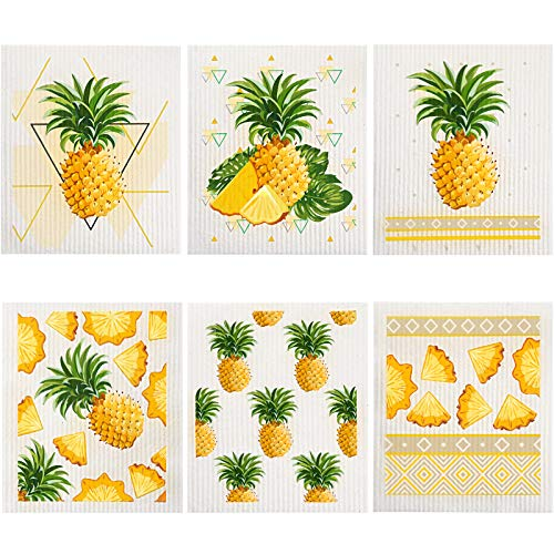 6 Pieces Pineapple Swedish Dishcloths Pineapple Kitchen Dishcloths Home Pantry Quick-Drying Cleaning Cloths Strong Absorption, No Odor, Reusable Dishcloths for Kitchen