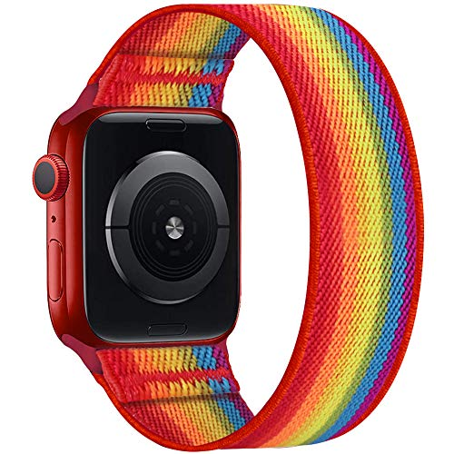 ENJINER Stretchy Nylon Solo Loop Bands Compatible with Apple Watch 38mm 40mm 42mm 44mm iWatch Series 6 SE 5 4 3 2 1 Strap, Sport Elastic Braided No Buckles Clasps Women Men, 38/40mmM Pride