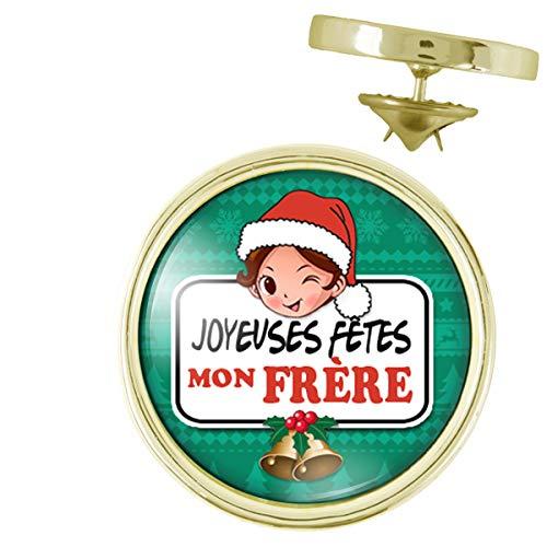 Pin's Doré 20mm Joyeuses Fêtes Mon FRERE Noël Gui Cloches - Idée Cadeau Pins Bouton Epinglette