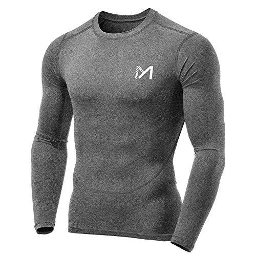 MEETYOO Maglia Compressione Uomo, Maglietta Maniche Lunghe T Shirt Sportiva per Corsa Ciclismo Fitness