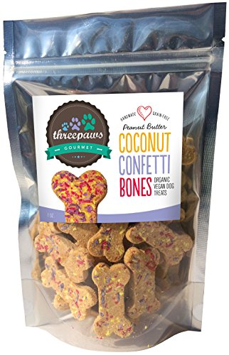 Confetti Bones, Coconut and Peanut Butter Gourmet Organic and Vegan Dog Treats - Gluten Free, Grain Free