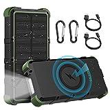 OUTXE Powerbank 25000 mAh Chargeur solaire sans fil étanche IP67 Charge rapide 4 A Double entrée 18 W Batterie d'extérieur avec lampe de poche