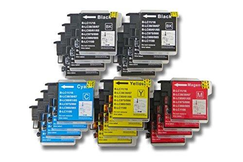 20 x vhbw Druckerpatronen Tintenpatronen Set für Brother Brother MFC-5490CN, MFC-5890CN, MFC-5895CW, MFC-6490CW wie LC980, LC985, LC1100.