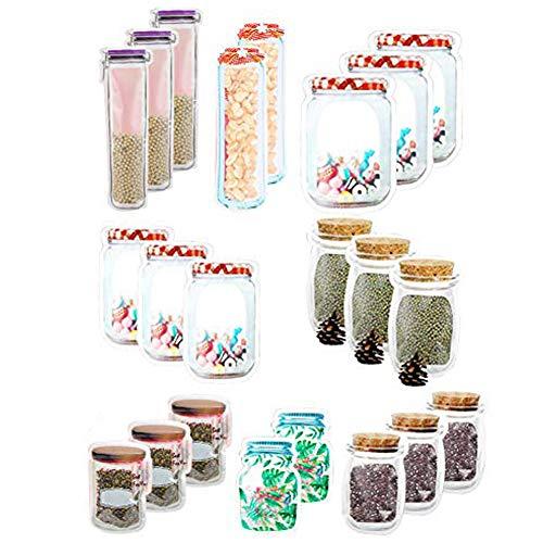 Bolsas de Tarro de masón Bolsas Ziplock para bocadillos/bolsa de merienda reutilizable/Adecuado para almacenar aperitivos nueces galletas té bebidas etc/22 Piezas