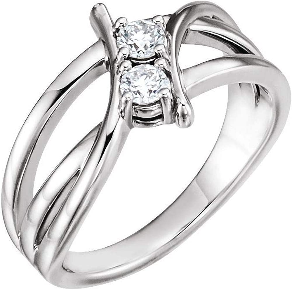 Max 65% OFF Solid 925 Sterling Silver 1 2 Ring Two-Stone Diamond Outlet SALE Band Cttw