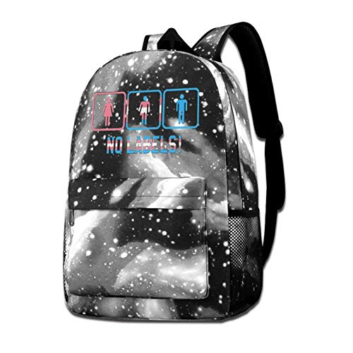 Galaxy Backpack Shoulders Bag Pride Transgender No Labels Starry Sky Bag For Outdoor Travel School