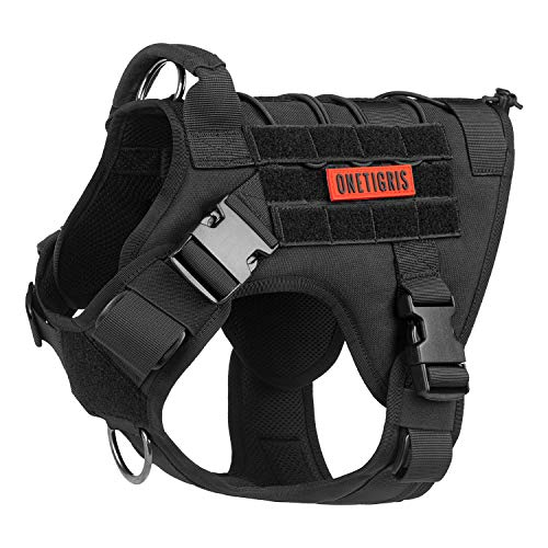 OneTigris Tactical Dog Harness - Fire Watcher Comfortable Patrol K9 Vest (Black, Medium)