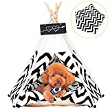Arkmiido Pet Tent for Dogs Puppy Cat Bed White Canvas Dog Cute House Pet Teepee with Cushion 24inch Indoor Outdoor (White)