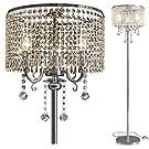 Hsyile Lighting KU300153 Elegant Designs Crystal Floor Lamp Chrome Finish,2 Lights