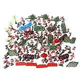 iVansa 270 Pezzi Mini Soldatini di Plastica - e Carri Armati, Aerei, Elicotteri, Pistole, Bandiere, ECC. - Ideali per Giochi di Guerra per Bambini