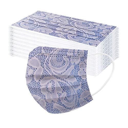50 Stück Damen Mundschutz Einweg mit Motiv Spitze Muster Druck,Mund und Nasenschutz Atmungsaktiv Mundbedeckung Bandana Halstuch für Erwachsene