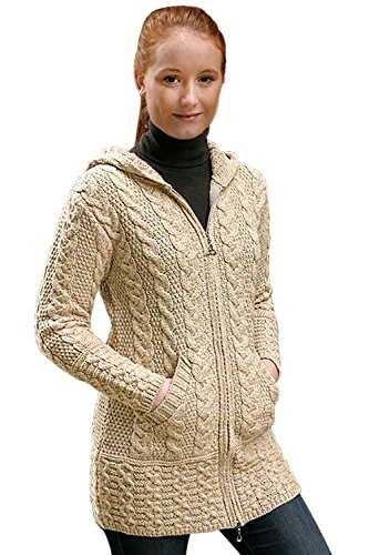 The Irish Store - Irish Gifts From Ireland West End Knitwear Damen Merino Wollmantel (Parsnip, L)