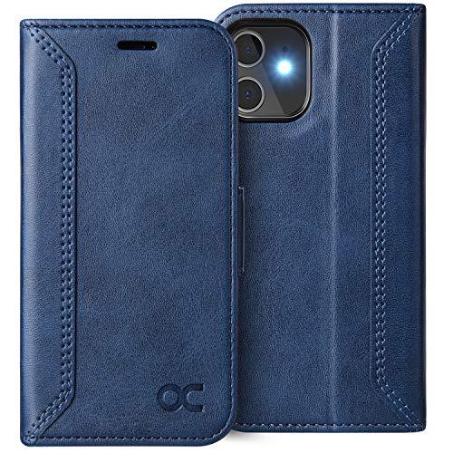 OCASE Retro Hülle iPhone 12 Mini, Handyhülle Tasche PU Leder Flip Cover Brieftasche Etui RFID Schutzhülle Klapphülle Klapphülle Kompatibel für iPhone 12 Mini Blau 5,4 Zoll