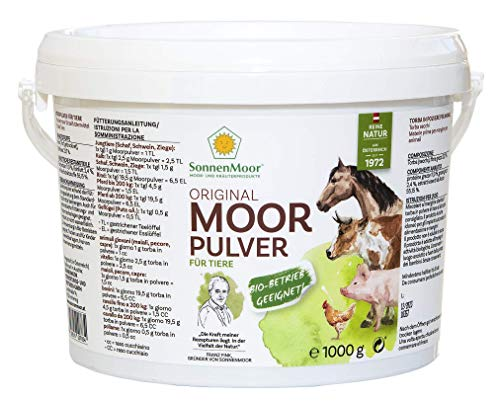 SONNENMOOR Moorpulver für Tiere Trockenmoor zum Untermischen von Futtermittel, 100% natürlich, vegan und ohne Konservierungsstoffe, Nahrungsergänzung für Tier in 500g und 1000g erhältlich