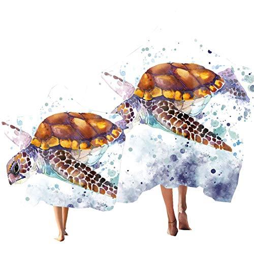 Toalla con Capucha para Padre-Hijo , Tortuga Marina Tema Impresión Poncho, Toalla Suave para Niños Adulto de Vacaciones de Playa, Toalla para Ligera Navegar Nadar Playa (Color 4, Niño & Adulto 2PCS)