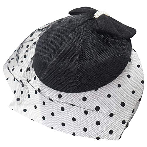 Ro Rox Damen Gnade Perle net Jahrgang 1940 ist 1950 Fascinator Klassiker Hochzeit Party-Hut einheitsgröße schwarz