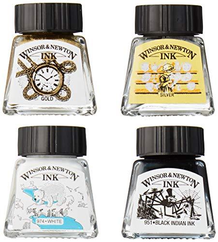 Winsor & Newton 1090103 - Set di 4 cartucce da disegno, resistenti all'acqua, per illustrazioni, grafici, calligraphi e artisti, colore: Nero/Bianco/Oro/Argento